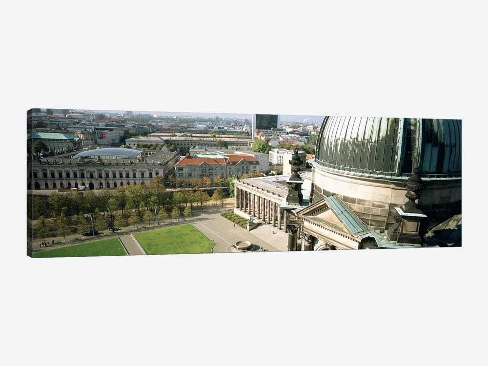 High angle view of a formal garden in front of a church, Berlin Dome, Altes Museum, Berlin, Germany 1-piece Canvas Art Print