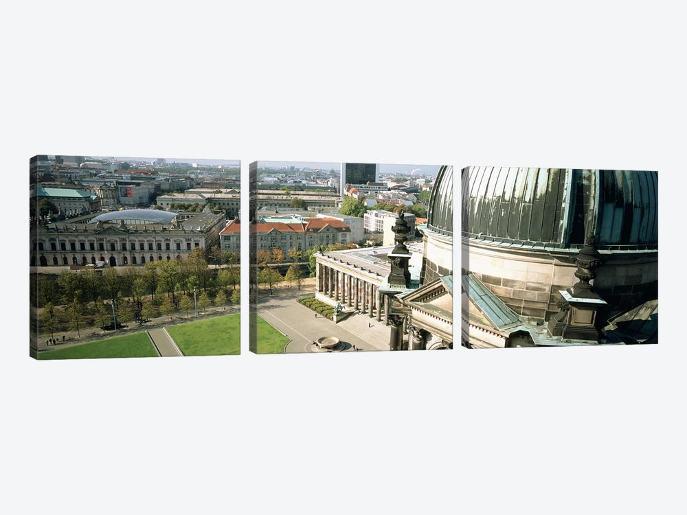 High angle view of a formal garden in front of a church, Berlin Dome, Altes Museum, Berlin, Germany by Panoramic Images 3-piece Art Print