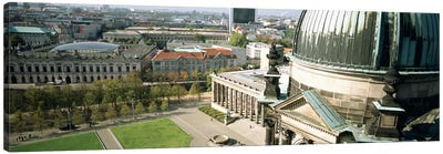 High angle view of a formal garden in front of a church, Berlin Dome, Altes Museum, Berlin, Germany Canvas Art Print