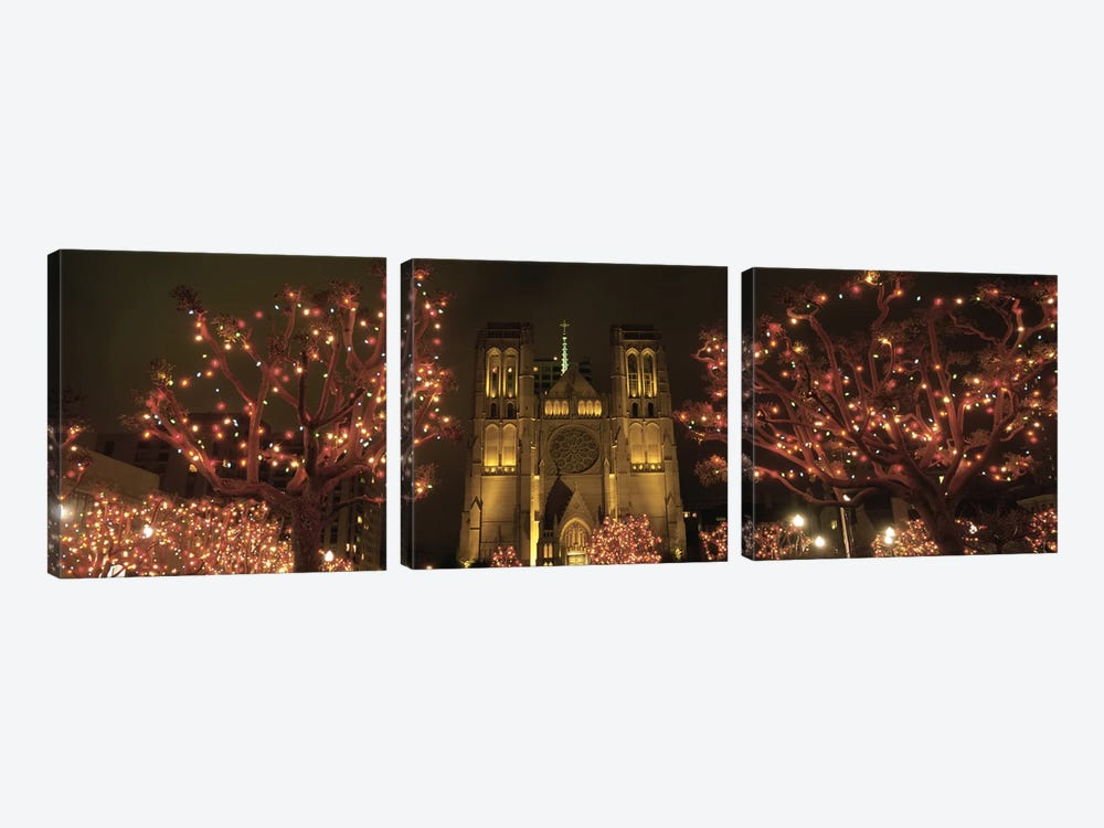 Facade Of A Church, Grace Cathedral, San Francisco, California, USA by Panoramic Images 3-piece Canvas Art