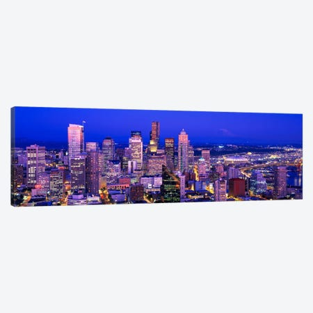 USAWashington, Seattle, cityscape at dusk Canvas Print #PIM471} by Panoramic Images Canvas Art Print