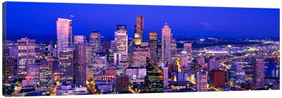 USAWashington, Seattle, cityscape at dusk Canvas Art Print