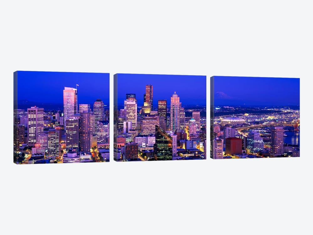 USAWashington, Seattle, cityscape at dusk by Panoramic Images 3-piece Canvas Art Print