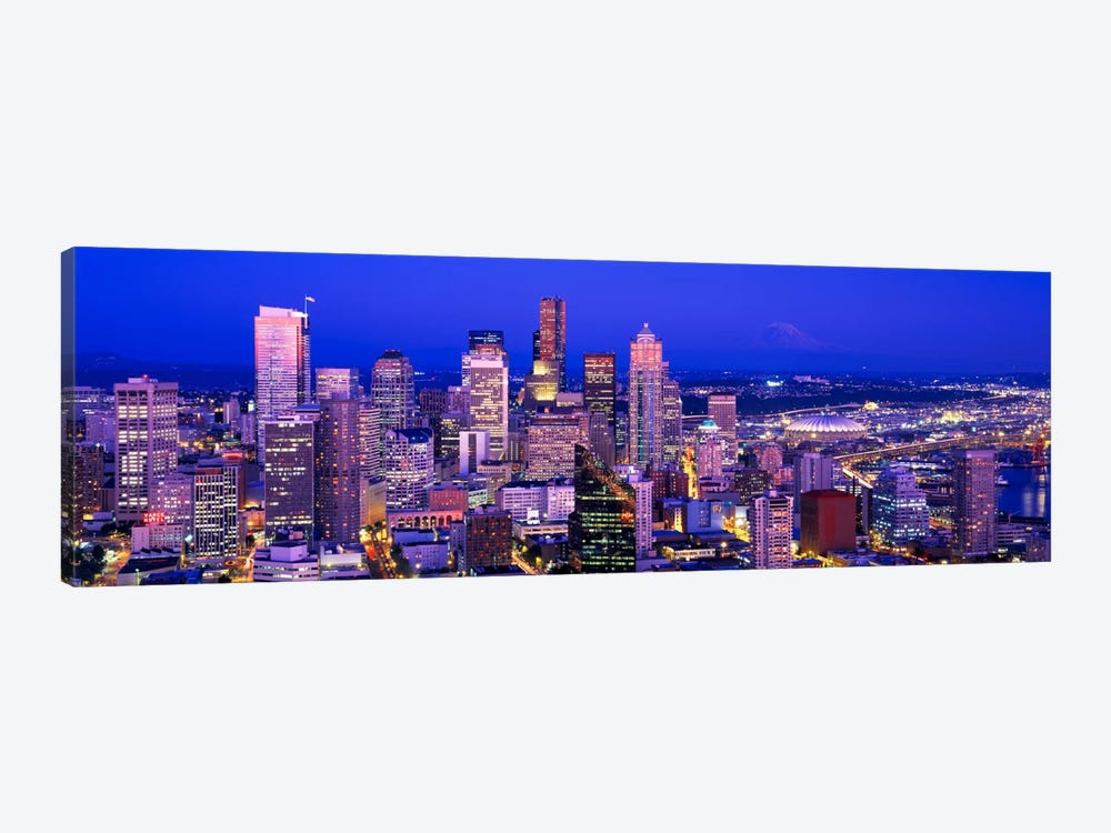 USAWashington, Seattle, cityscape at dusk by Panoramic Images 1-piece Canvas Print