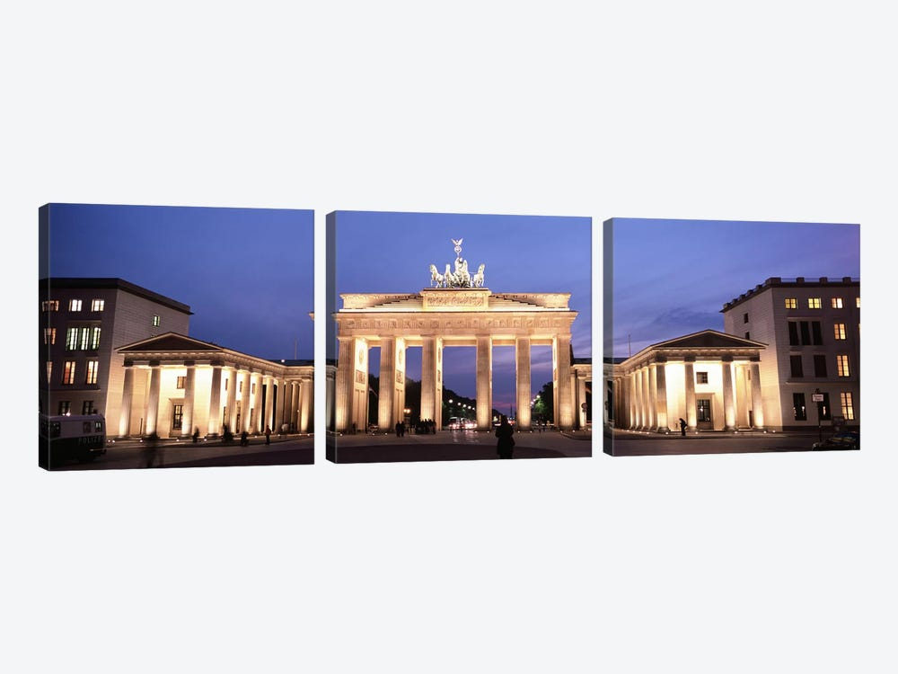 Illuminated Brandenburg Gate At Night, Berlin, Germany by Panoramic Images 3-piece Canvas Print