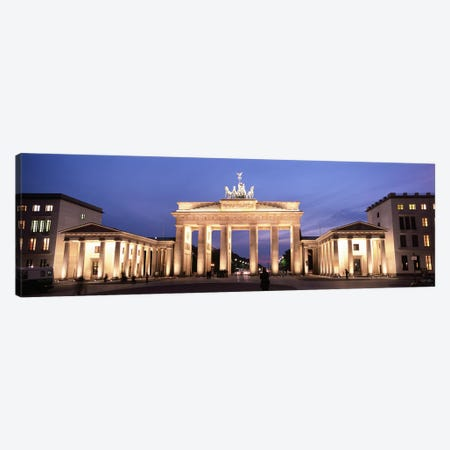 Illuminated Brandenburg Gate At Night, Berlin, Germany Canvas Print #PIM4728} by Panoramic Images Canvas Artwork