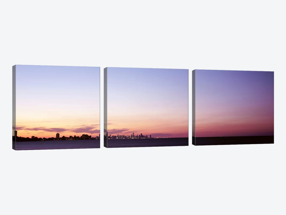 Skyscrapers At Dusk, Chicago, Illinois, USA 3-piece Art Print