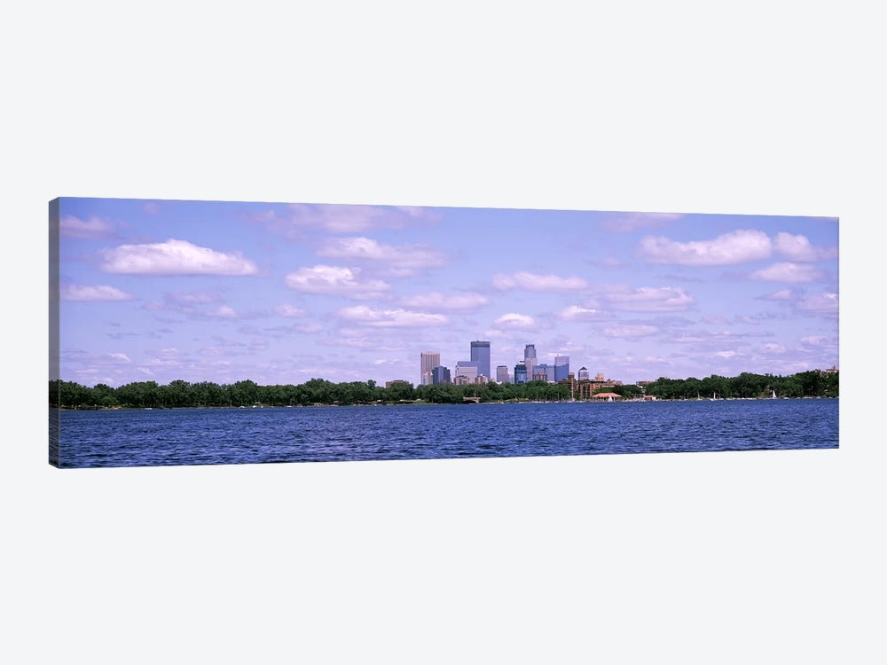 Skyscrapers in a city, Chain Of Lakes Park, Minneapolis, Minnesota, USA by Panoramic Images 1-piece Canvas Wall Art