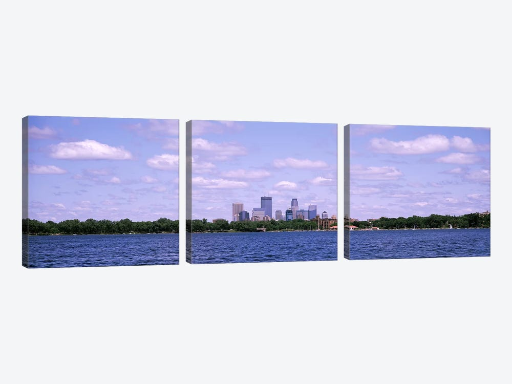 Skyscrapers in a city, Chain Of Lakes Park, Minneapolis, Minnesota, USA by Panoramic Images 3-piece Canvas Art