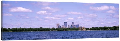 Skyscrapers in a city, Chain Of Lakes Park, Minneapolis, Minnesota, USA Canvas Art Print