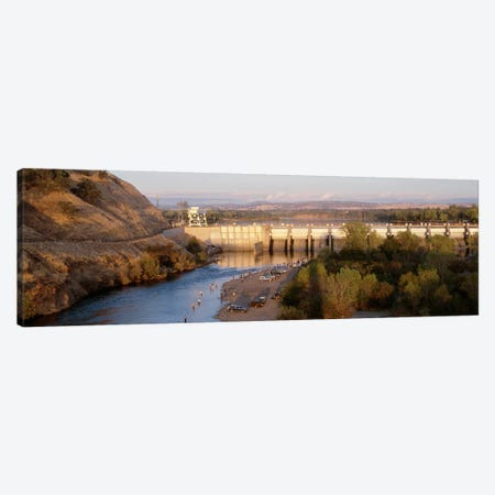 High angle view of a dam on a river, Nimbus Dam, American River, Sacramento County, California, USA Canvas Print #PIM4736} by Panoramic Images Canvas Art