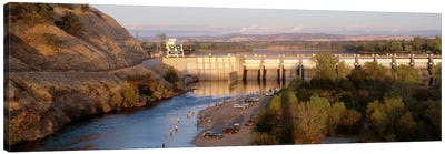 High angle view of a dam on a river, Nimbus Dam, American River, Sacramento County, California, USA Canvas Art Print