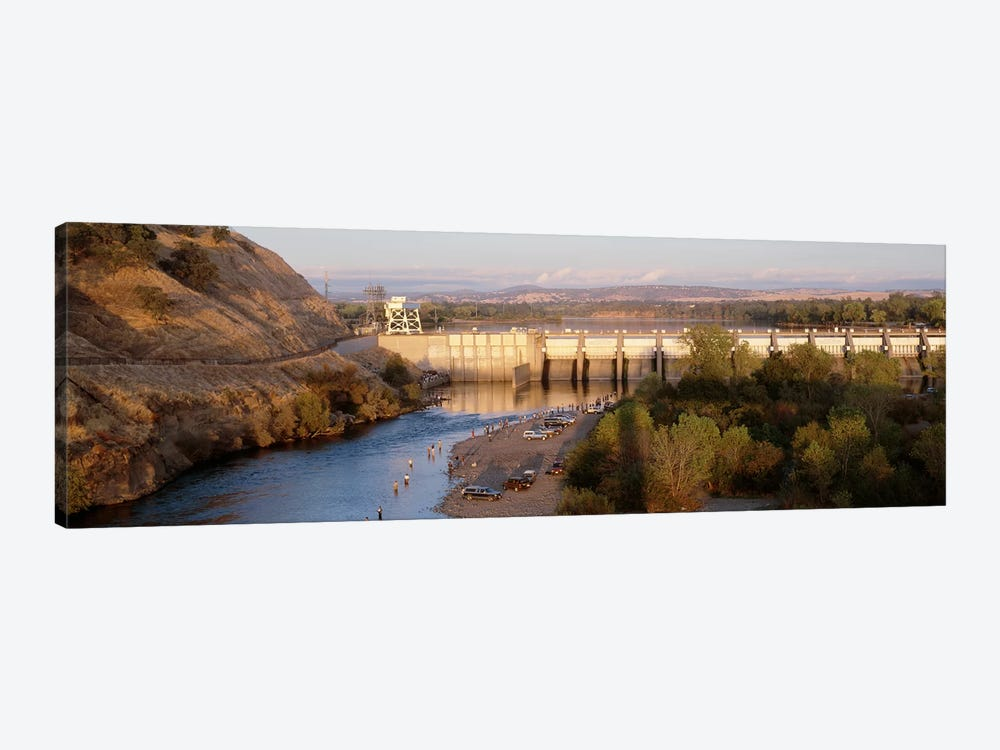 High angle view of a dam on a river, Nimbus Dam, American River, Sacramento County, California, USA by Panoramic Images 1-piece Canvas Wall Art
