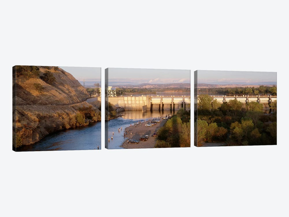 High angle view of a dam on a river, Nimbus Dam, American River, Sacramento County, California, USA by Panoramic Images 3-piece Canvas Art