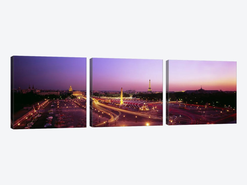 High angle view of Paris at dusk by Panoramic Images 3-piece Art Print