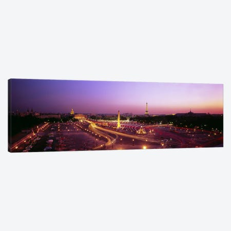 High angle view of Paris at dusk Canvas Print #PIM4742} by Panoramic Images Canvas Wall Art