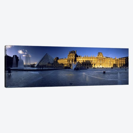 Sun Shining On The Richelieu Wing, Musee du Louvre, Paris, France Canvas Print #PIM4743} by Panoramic Images Canvas Wall Art