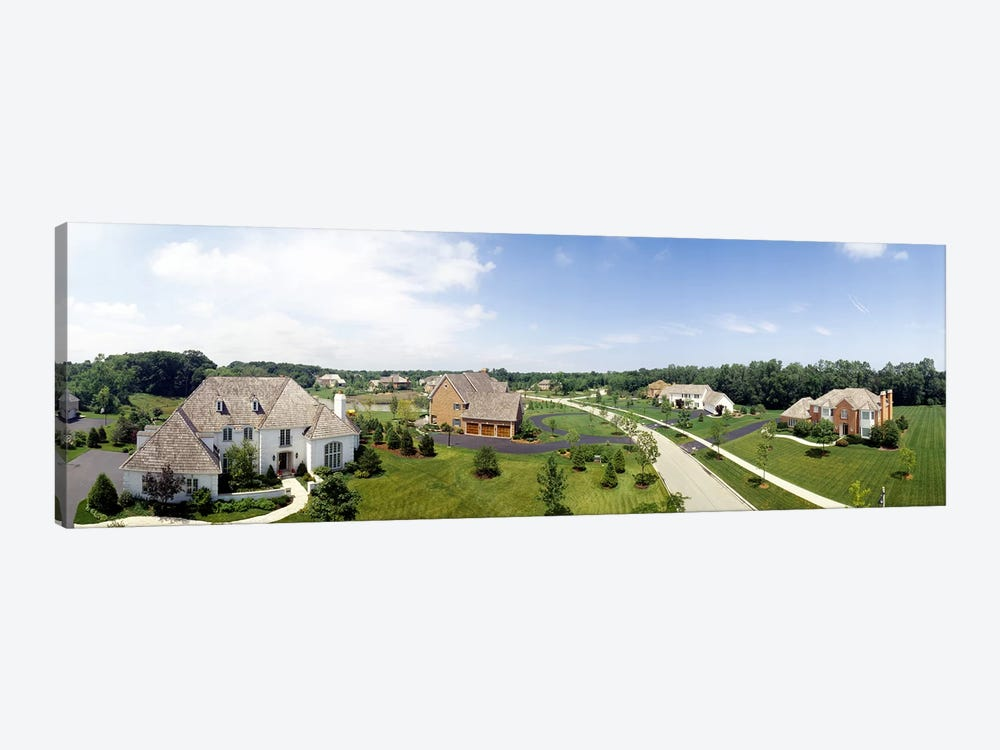 High angle view of houses on a field by Panoramic Images 1-piece Canvas Art