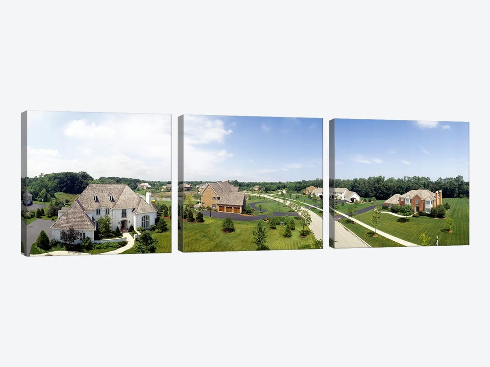 High angle view of houses on a field by Panoramic Images 3-piece Canvas Wall Art