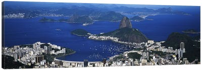 Aerial View Of Sugarloaf Mountain And Guanabara Bay, Rio de Janeiro, Brazil Canvas Art Print