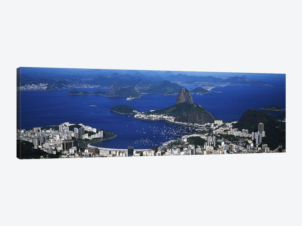 Aerial View Of Sugarloaf Mountain And Guanabara Bay, Rio de Janeiro, Brazil by Panoramic Images 1-piece Canvas Art