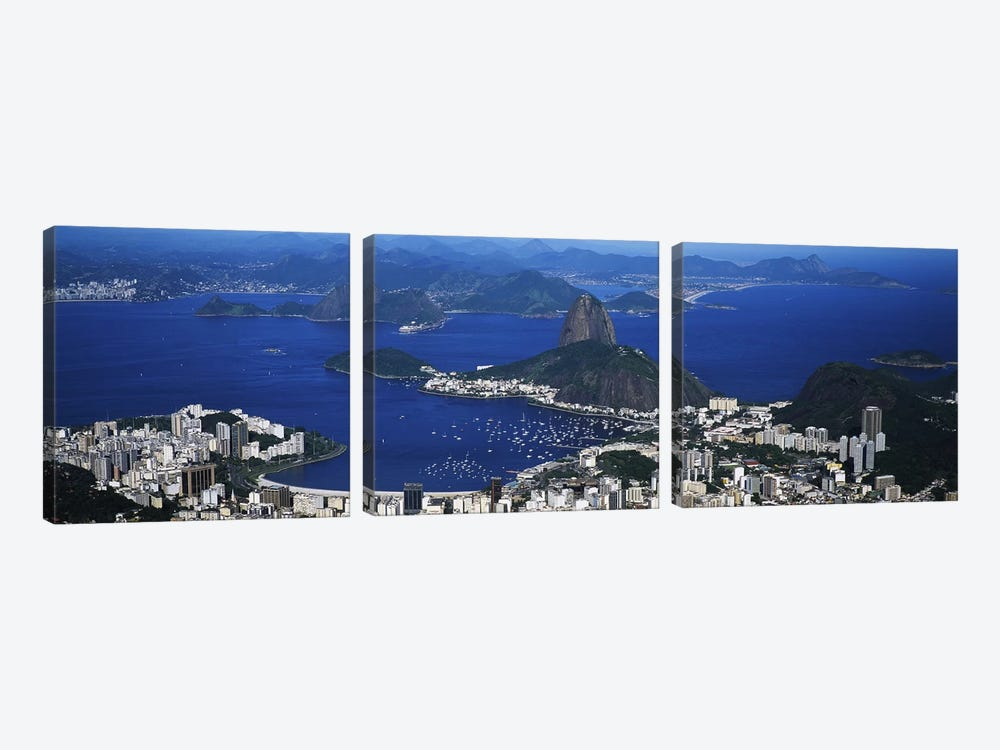 Aerial View Of Sugarloaf Mountain And Guanabara Bay, Rio de Janeiro, Brazil by Panoramic Images 3-piece Canvas Art