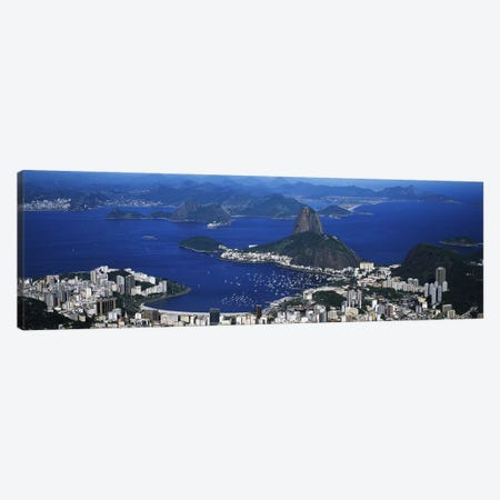 Aerial View Of Sugarloaf Mountain And Guanabara Bay, Rio de Janeiro, Brazil Canvas Print #PIM4752} by Panoramic Images Canvas Art Print
