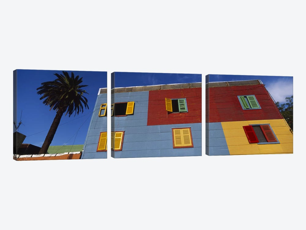 Brightly Colored Siding And Shutters, La Boca Barrio, Buenos Aires, Argentina by Panoramic Images 3-piece Canvas Print