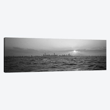 Sunset Over A City, Chicago, Illinois, USA Canvas Print #PIM4757} by Panoramic Images Canvas Artwork