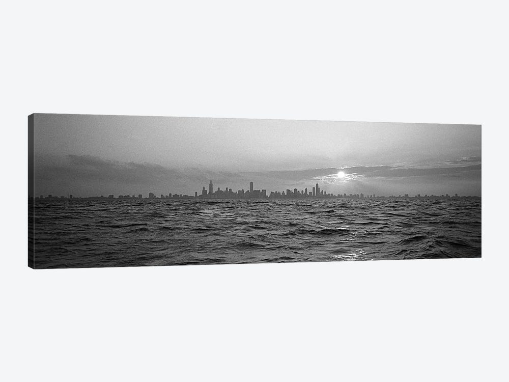 Sunset Over A City, Chicago, Illinois, USA 1-piece Canvas Print