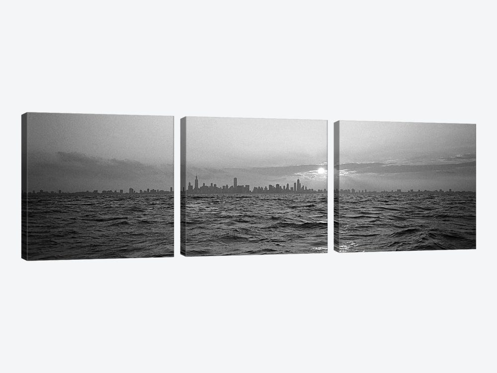 Sunset Over A City, Chicago, Illinois, USA by Panoramic Images 3-piece Canvas Print