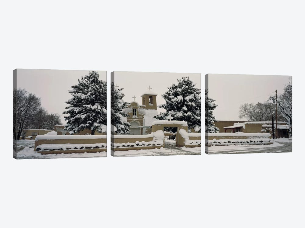 Facade of a church, San Francisco de Asis Church, Ranchos de Taos, Taos, New Mexico, USA by Panoramic Images 3-piece Art Print