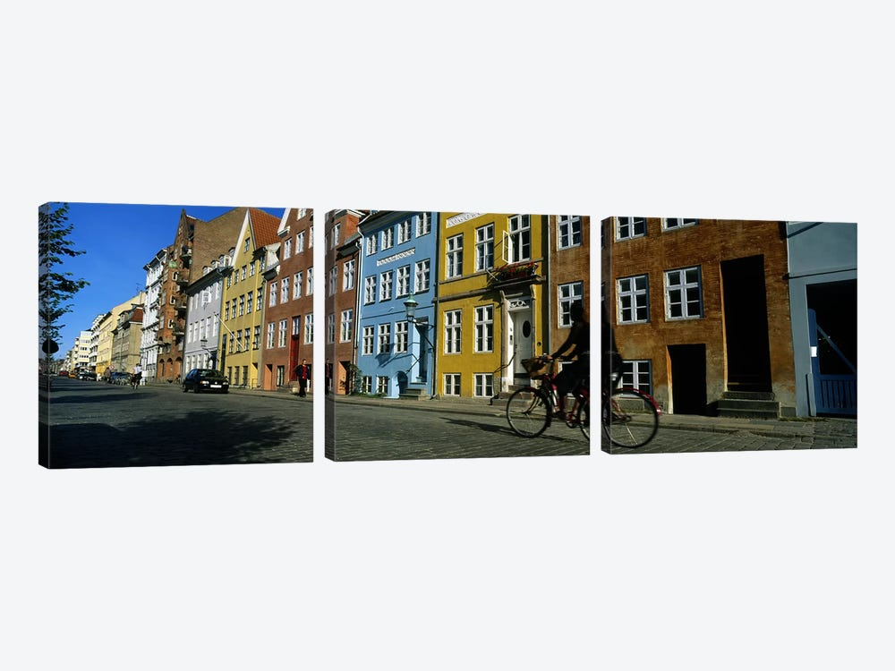 Woman Riding A Bicycle, Copenhagen, Denmark by Panoramic Images 3-piece Canvas Print