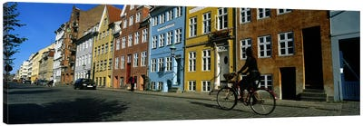 Woman Riding A Bicycle, Copenhagen, Denmark Canvas Art Print