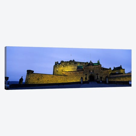 An Illuminated Edinburgh Castle At Night, Edinburgh, Scotland, United Kingdom Canvas Print #PIM4774} by Panoramic Images Canvas Artwork