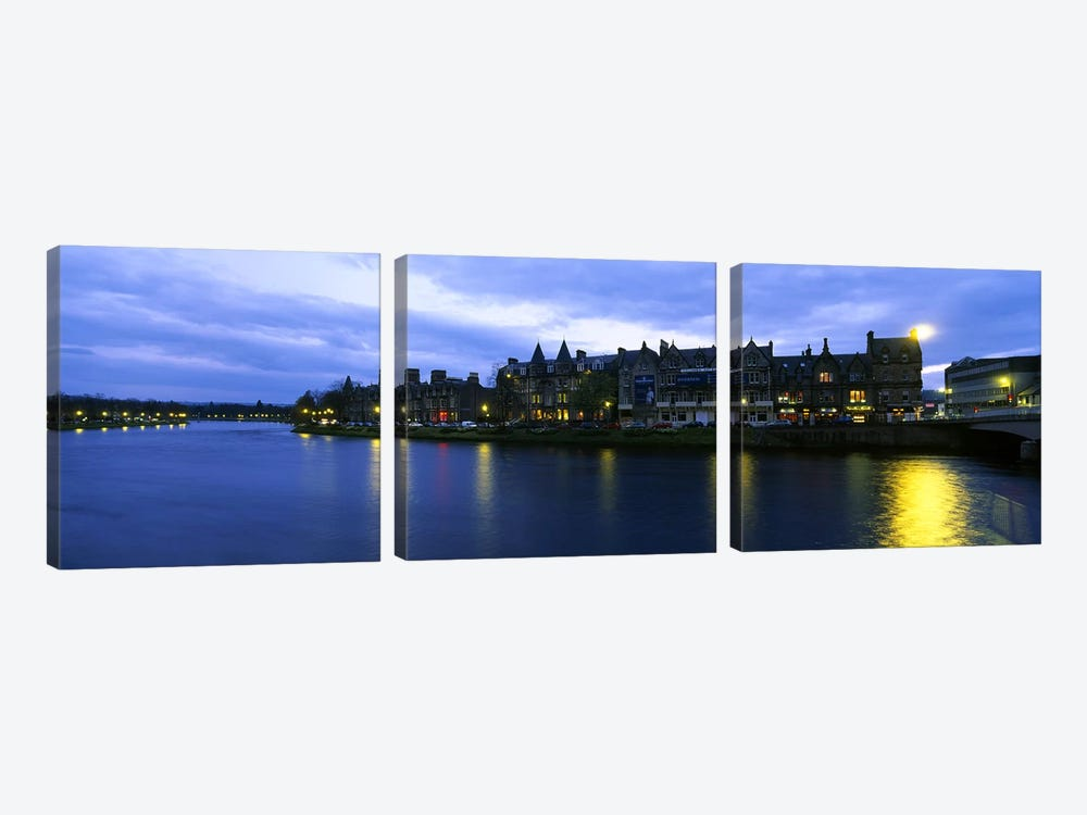 Buildings On The Waterfront, Inverness, Highlands, Scotland, United Kingdom by Panoramic Images 3-piece Art Print