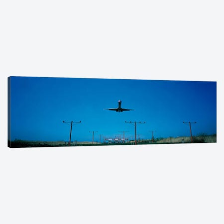 Airplane landing Philadelphia International Airport PA USA Canvas Print #PIM477} by Panoramic Images Canvas Wall Art