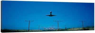 Airplane landing Philadelphia International Airport PA USA Canvas Art Print