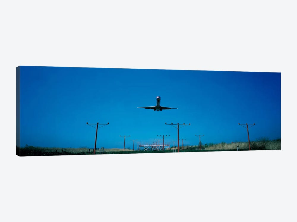 Airplane landing Philadelphia International Airport PA USA by Panoramic Images 1-piece Canvas Art Print