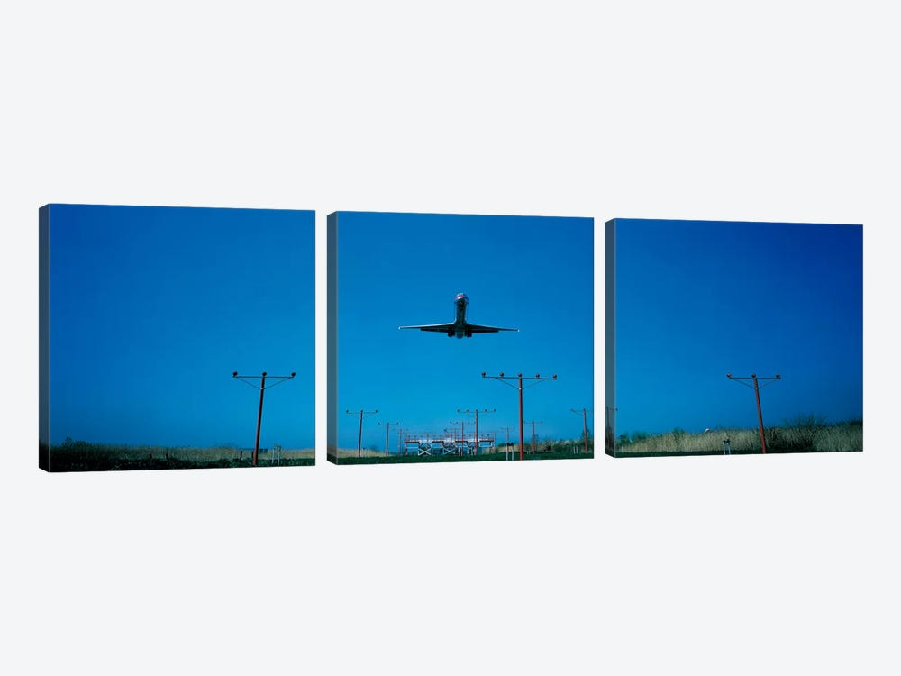 Airplane landing Philadelphia International Airport PA USA by Panoramic Images 3-piece Art Print
