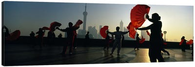 Silhouette Of A Group Of People Exercising, The Bund, Shanghai, China Canvas Art Print