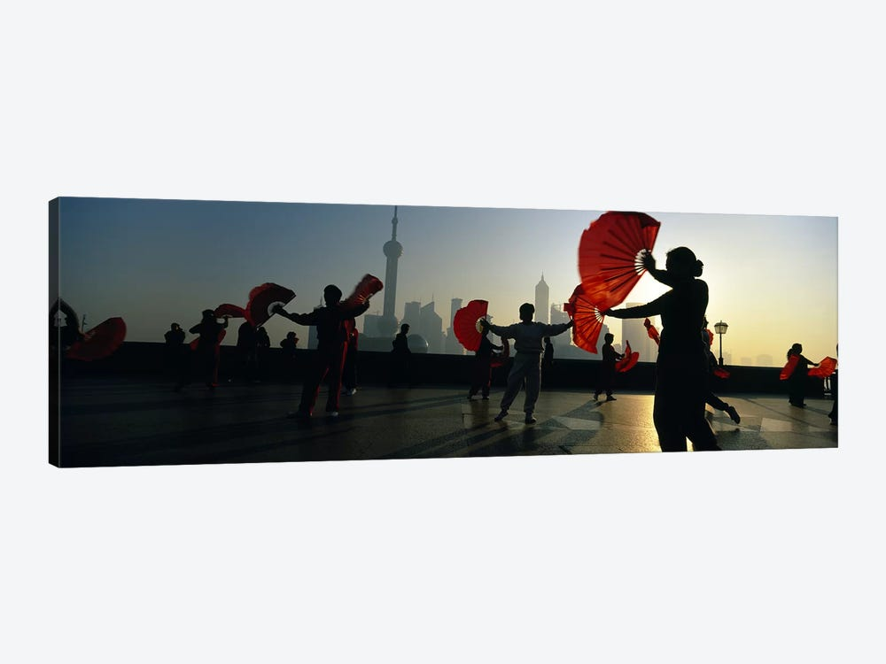 Silhouette Of A Group Of People Exercising, The Bund, Shanghai, China by Panoramic Images 1-piece Canvas Wall Art