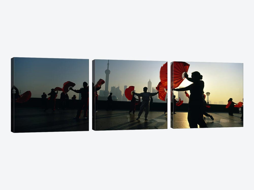 Silhouette Of A Group Of People Exercising, The Bund, Shanghai, China by Panoramic Images 3-piece Canvas Wall Art