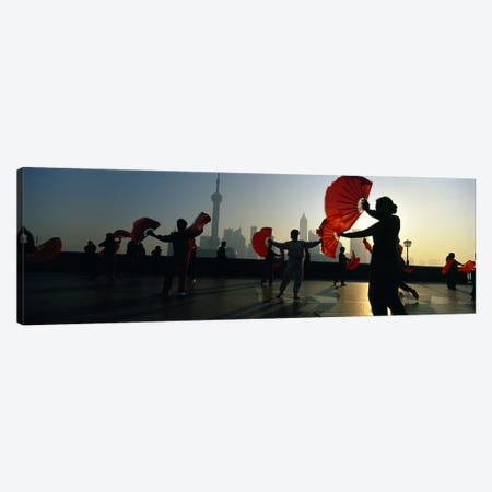 Silhouette Of A Group Of People Exercising, The Bund, Shanghai, China 3-Piece Canvas #PIM4790} by Panoramic Images Canvas Art Print