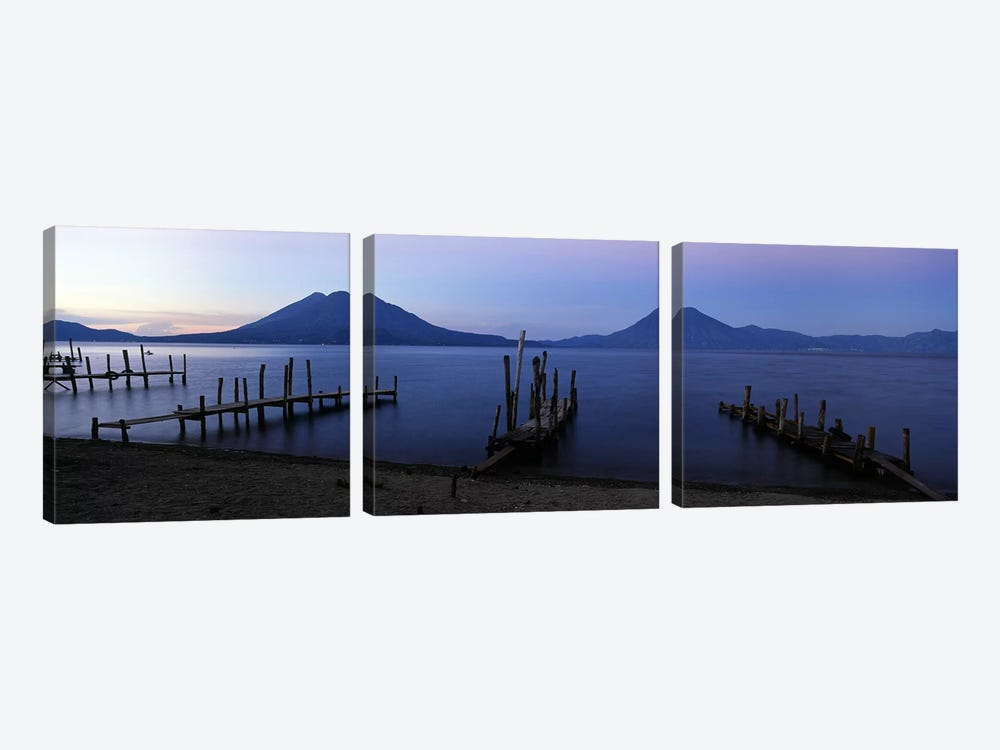Crude Docks Along The Shore, Lake Atitlan, Solola, Guatemala by Panoramic Images 3-piece Canvas Art Print