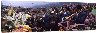 Musicians Celebrating All Saint's Day By Playing Trumpet, Zunil, Guatemala Canvas Print #PIM4796