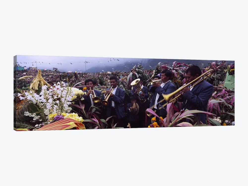 Musicians Celebrating All Saint's Day By Playing Trumpet, Zunil, Guatemala by Panoramic Images 1-piece Canvas Artwork