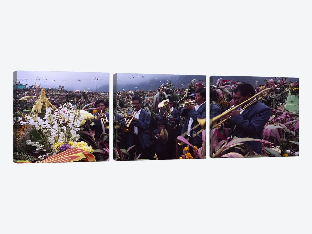 Musicians Celebrating All Saint's Day By Playing Trumpet, Zunil, Guatemala by Panoramic Images 3-piece Canvas Artwork