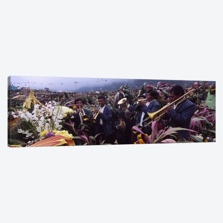 Musicians Celebrating All Saint's Day By Playing Trumpet, Zunil, Guatemala 3-Piece Canvas #PIM4796} by Panoramic Images Canvas Art