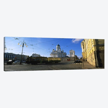 Tram Moving On A Road, Senate Square, Helsinki, Finland Canvas Print #PIM4804} by Panoramic Images Canvas Wall Art